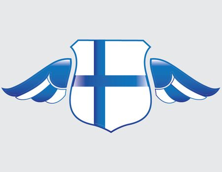 finland flag on shield with wings Иллюстрация