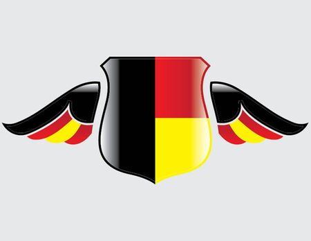 germany flag on shield with wings Illustration