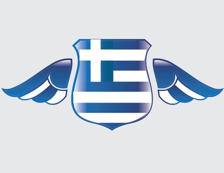 greek flag on shield with wings