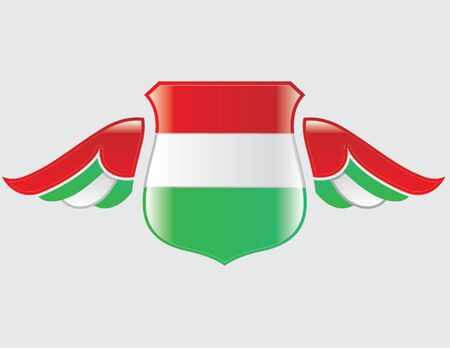hungarian flag on shield with wings