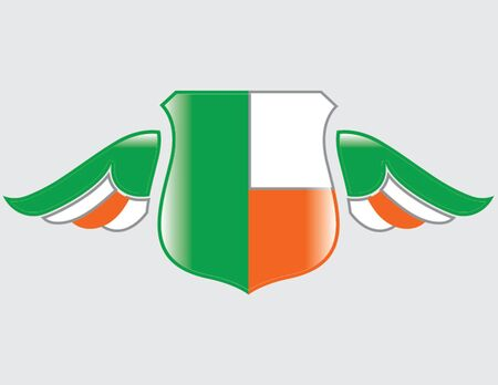 ireland flag on shield with wings Illustration