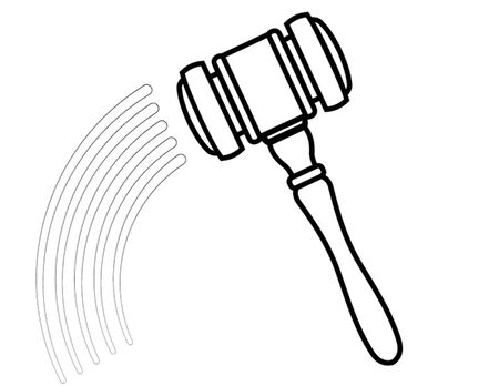 barrister: isolated hammer outline