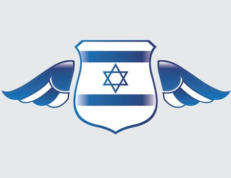 israel flag on shield with wings Illustration