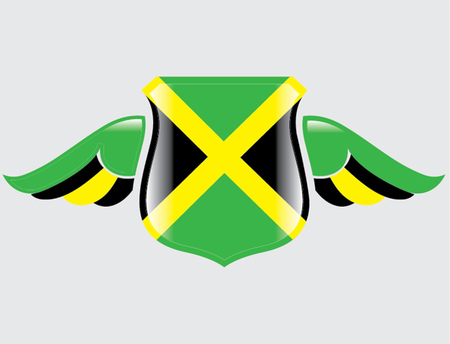 jamaican flag on shield with wings Illustration