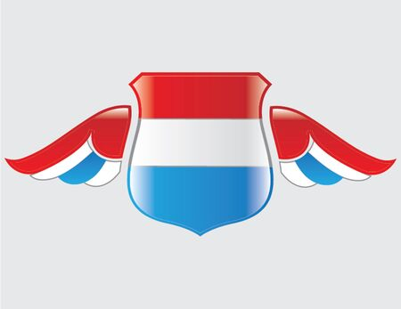 netherlands flag on shield with wings