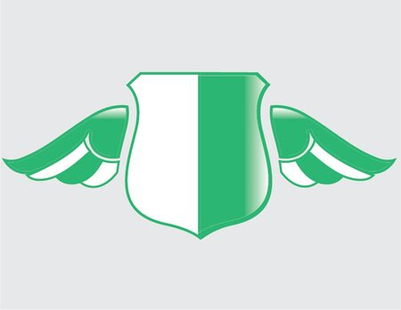 nigerian flag on shield with wings
