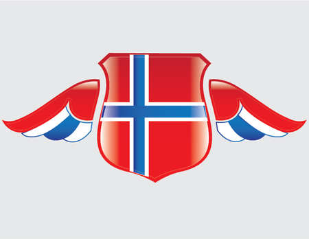 norwegian flag: norwegian flag on shield with wings