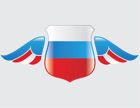 russian flag on shield with wings