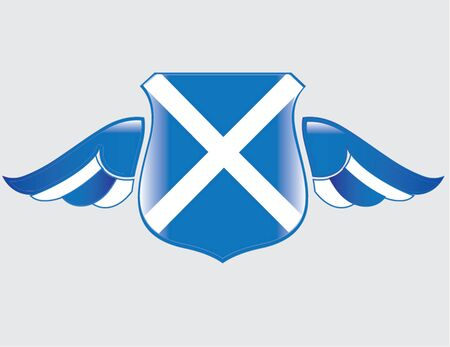 scottish flag on shield with wings
