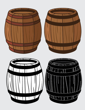 barrels: set of wooden barrels isolated illustration Illustration