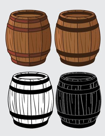 set of wooden barrels isolated illustration Illustration