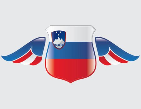 slovenian flag on shield with wings
