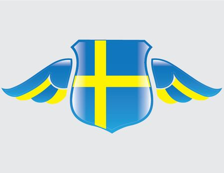 swedish flag on shield with wings