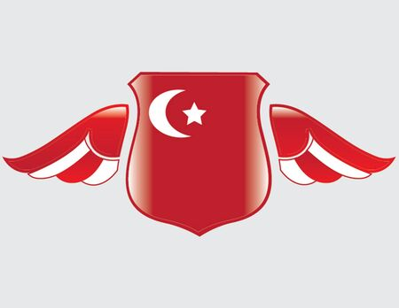 turkish flag on shield with wings