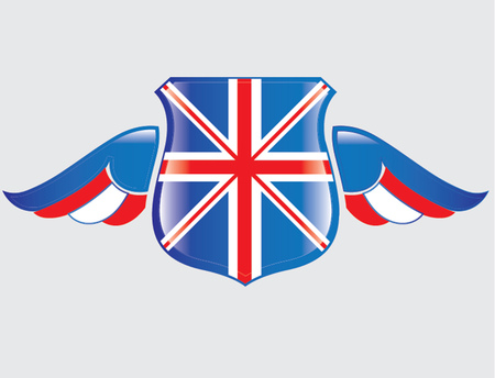 UK flag on shield with wings Illustration