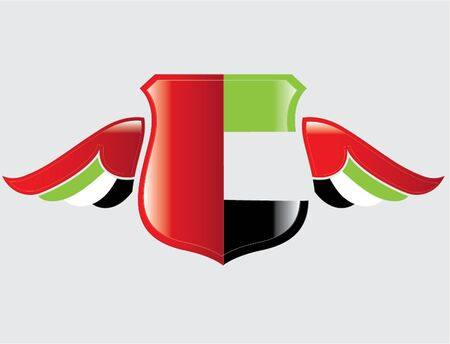 United Arab Emirates flag on shield with wings