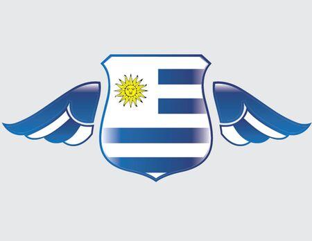 bandera de uruguay: bandera de Uruguay en el blindaje con las alas