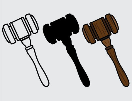 proceeding: set of wooden hammers Illustration