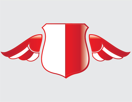 polish flag on shield with wings