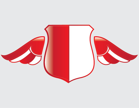 indonesian flag on shield with wings