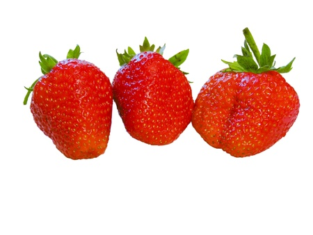 The strawberries on white backround