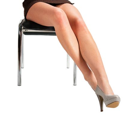 Isolated slim long legs on white background