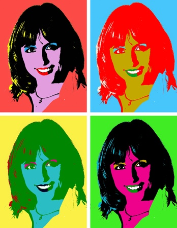 Portrait of young woman as style pop art
