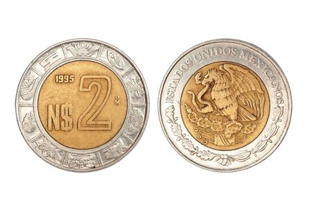 coin of mexico isolated on white background Standard-Bild