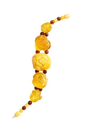 amber bracelet beautiful isolated on white backgrond