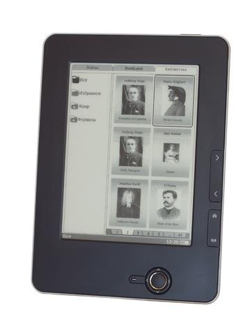 electronic portable handheld ereader on white background