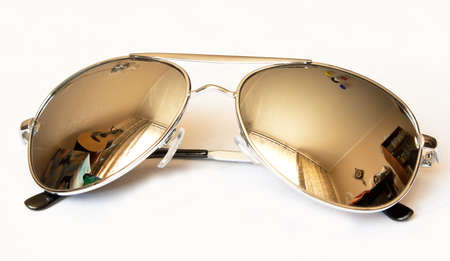 mirrored sunglasses isolated on white background Stock Photo
