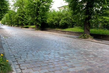 old pavement street in the modern city