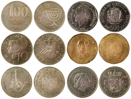old coins of different countries isolated on white background Stock Photo - 17092361