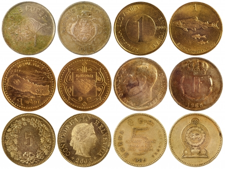 thaler: vintage rare coins of different countries isolated on white background