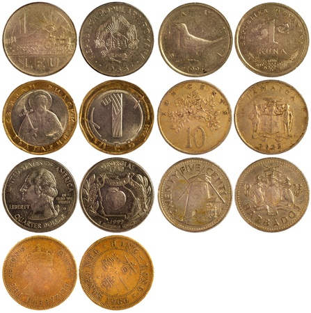 old rare coins of different countries isolated on white background Stock Photo - 17092365