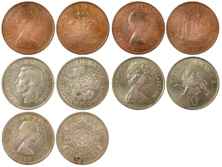 different rare coins of great britain isolated on white background Stock Photo - 17092357