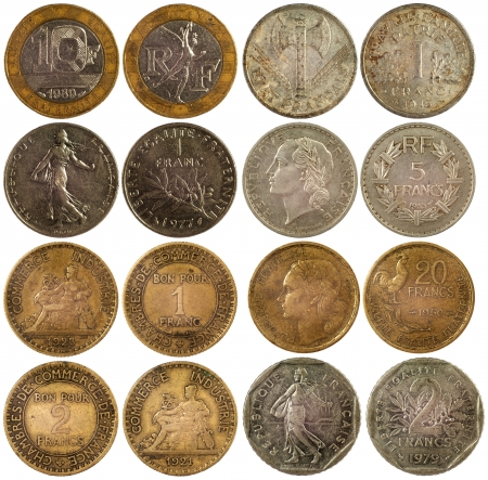 old rare coins of france isolated on white background photo