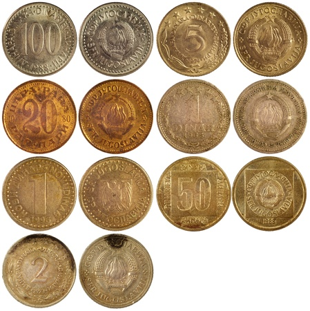old antique coins of yugoslavia isolated on white background photo