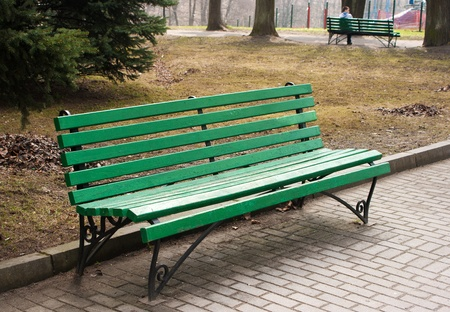green bench in a public park on spring day