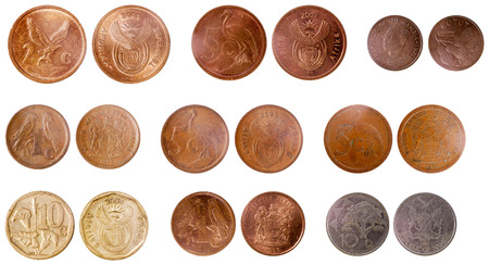 misc old coins of africa isolated on white background photo