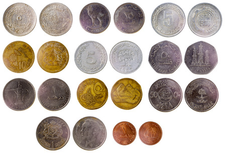 different old arab coins isolated on white background
