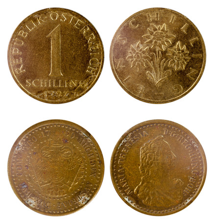shilling: two old austrian coins isolated on white background