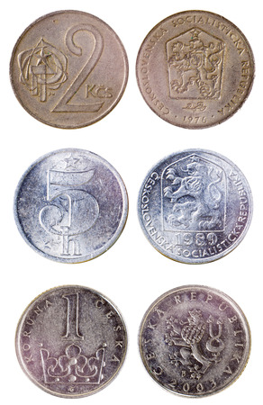czech republic coin: three different old czech coins isolated on white background