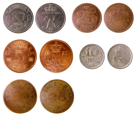 different old coins of denmark isolated on white background