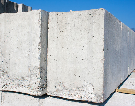 housebuilding: two concrete slabs to build a house outside closeup
