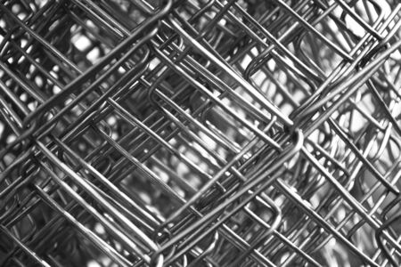 metal mesh wire closeup black and white Stock Photo