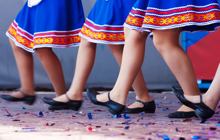 feet of girls dancing on stage closeup Stock Photo