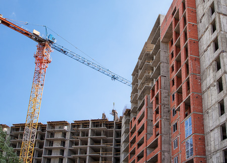 residential construction: construction of new modern residential building Stock Photo