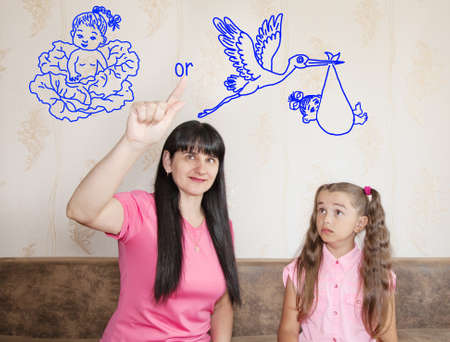 tells: mom tells her little daughter where babies come from with cabbage or stork