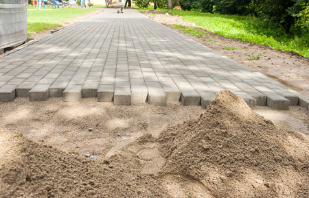 residental: construction of a new pavement of paving slabs in residental area